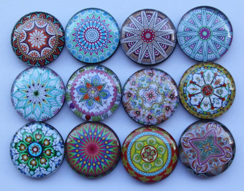 Flower Mandala Yoga Glass Refrigerator Magnets - Yoga giveaways 4 magnets for $14.00