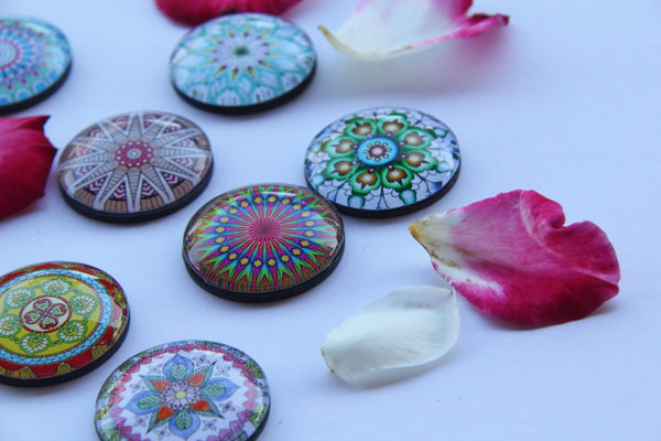 Flower Mandala Yoga Glass Refrigerator Magnets - Yoga giveaways 4 magnets for $12.00