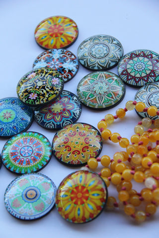 Summer Mandala Yoga Glass Dome Fridge Magnets - Party Bag Fillers - Gift for Yogis - Event giveaways 4 magnets for $14.00