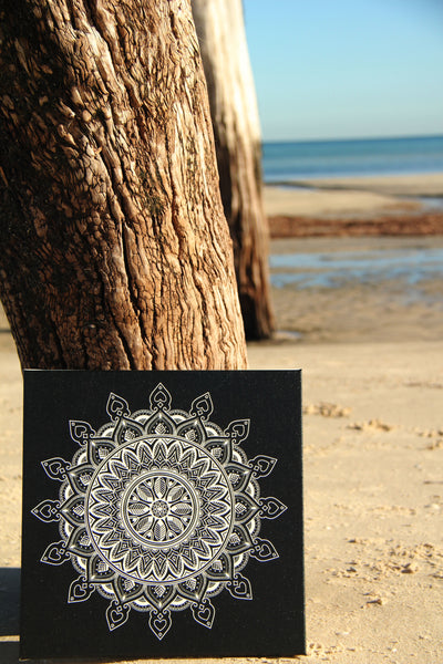 Leaf Mandala Black on White  - 20x20cm square print ***Digital Download Only***