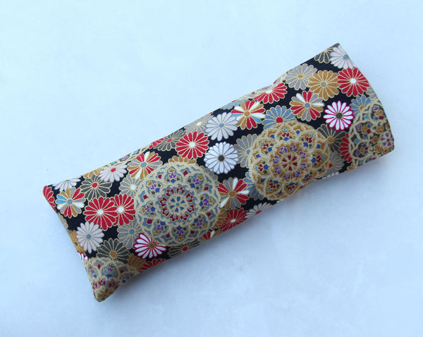Eye Pillow with Washable Cotton Pillow Cover - Golden Mandalas