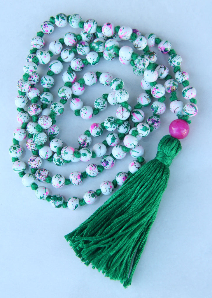 SALE!!!! Long Knotted Mala Necklace w/ Green Cotton Tassel Pink Agate Guru Bead