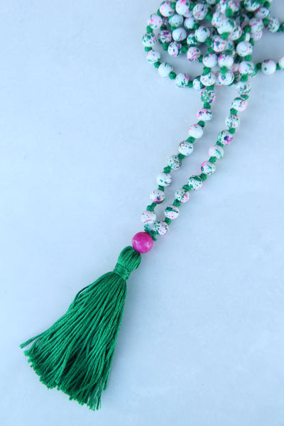 Long Knotted Mala Necklace with Cotton Tassel Agate Guru Bead