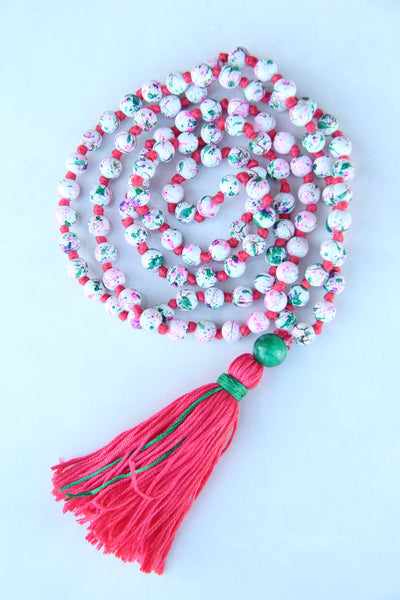 Long Knotted Mala Necklace with Pink Cotton Tassel Green Agate Guru Bead - Cracked Egg Shell Design