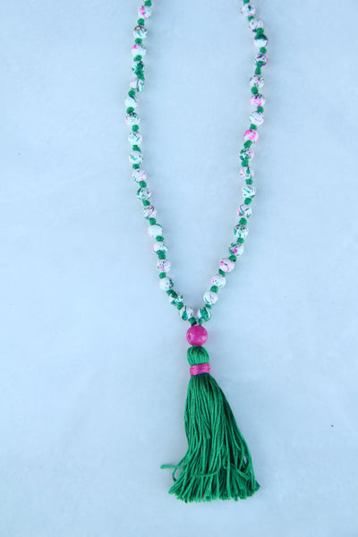 Long Knotted Mala Necklace w/ Green Cotton Tassel Pink Agate Guru Bead - Cracked Egg Shell Design