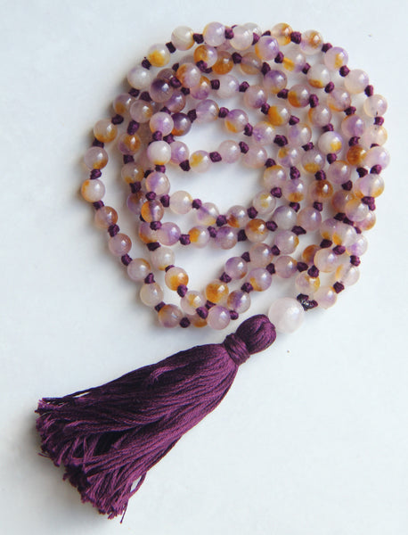 Agate Waxy Mala Necklace with  Cotton Tassel