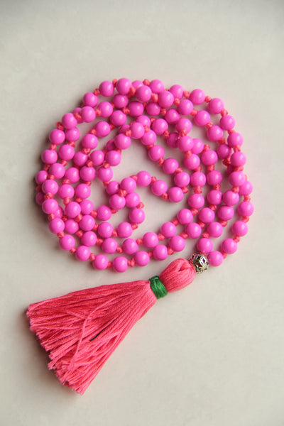 Long Knotted Pink Mala Necklace with Pink Cotton Tassel