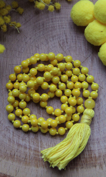 Chakra Collection - Long Knotted  Yellow Mala Necklace with Yellow Cotton Tassel