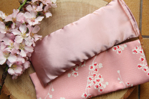 Flaxseed Filled Yoga Eye Pillow with washable cover - Cherry Blossoms Limited Edition