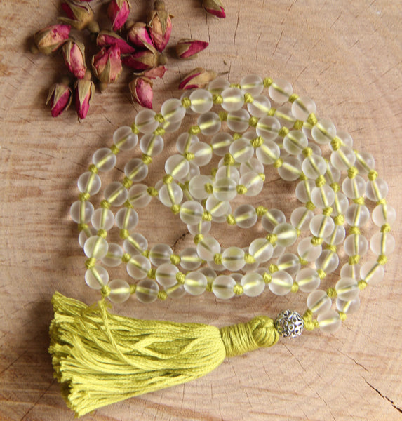 Knotted Long Frosted Glass beads Mala Necklace with Green Cotton tassel