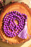 Chakra Collection - Violet Mala Necklace with Violet Cotton Tassel