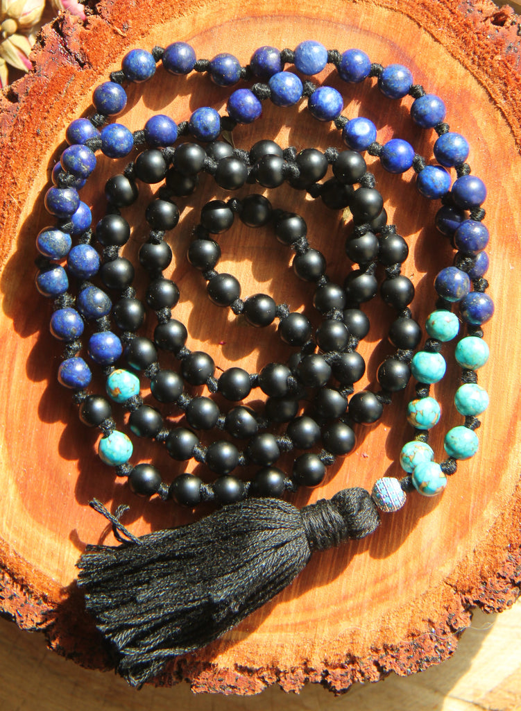Mens Mala Necklace with black coloured cotton tassel