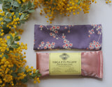 Organic Flaxseed Filled Yoga Eye Pillow with washable cover - Purple Cherry Blossoms Limited Edition
