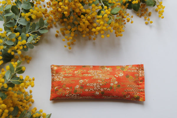 Flaxseed Filled Yoga Eye Pillow - Orange & Gold