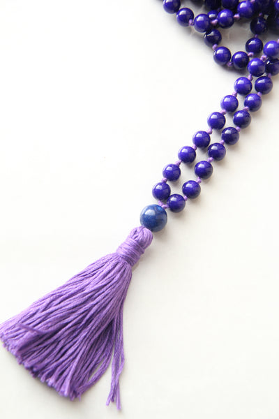 Chakra Collection - Indigo Mala Necklace with Indigo Cotton Tassel