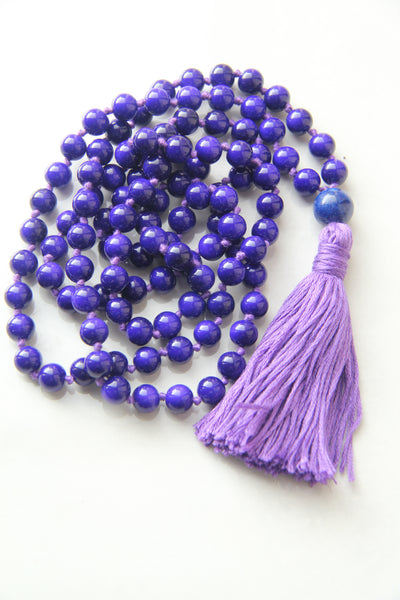 108 Mala Beads - Long Knotted Mala Necklace - Indigo - Yoga Gift