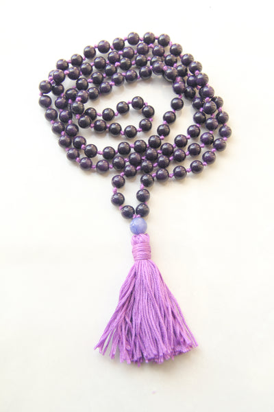 108 Mala Beads - Long Knotted Mala Necklace - Dark Mauve - Yoga Gift