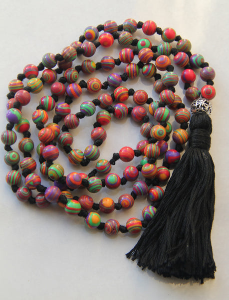 108 Mala Beads - Long Knotted Mala Necklace - Rainbow Malachite - Yoga Gift - Meditation Staple