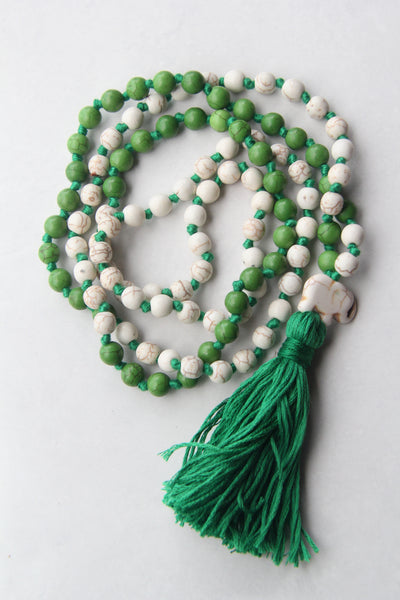 Knotted Long 108 Mala Necklace with Grey Cotton Tassel and Mix Turquoise Beads