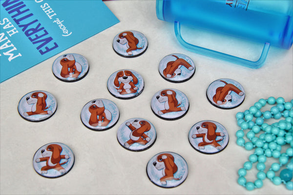 Dog Yoga Glass Cabochon Fridge Magnets - Party Bag Fillers - Gift for Yogis - Event giveaways 4 magnets for $12.00