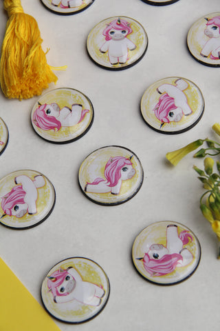 Unicorn Yoga Glass Cabochon Fridge Magnets - Party Bag Fillers - Gift for Yogis - Event giveaways 4 magnets for $14.00