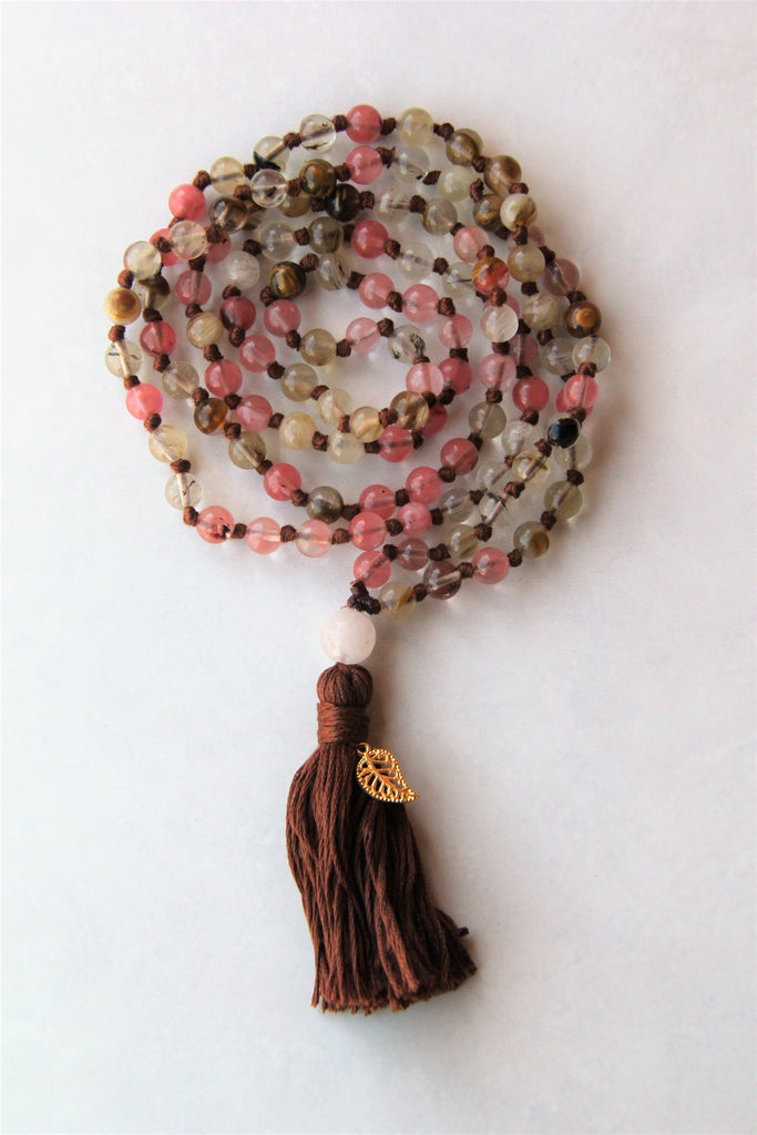 Knotted Long Rainbow Rose Quartz Mala Necklace with Brown Cotton tassel - I