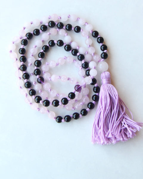 Knotted Long Frosted Rose Quartz Mala Necklace with Lilac Cotton tassel - I