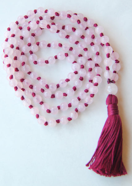 Classic Knotted Long Rose Quartz Mala Necklace with Cotton tassel