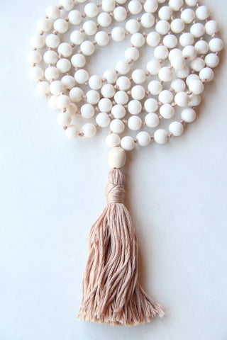 Long Knotted Cream Mala Necklace with Cream Coloured Cotton Tassel