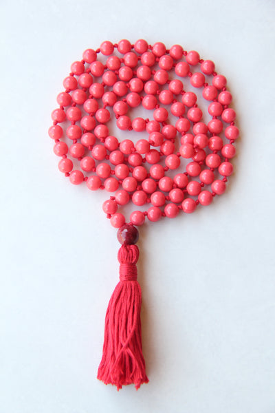 Chakra Collection - Red Mala Necklace with Red Cotton Tassel