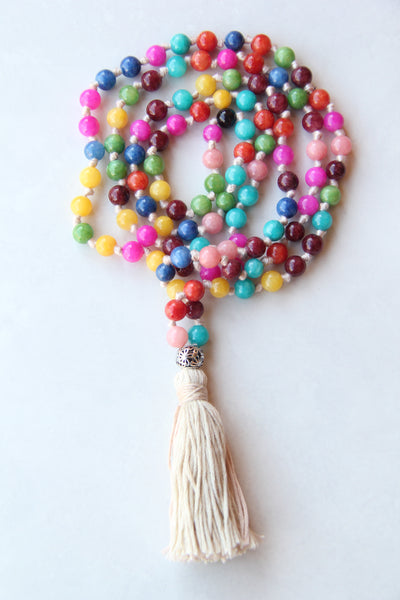 108 Mala Beads - Long Knotted Mala Necklace - Rainbow Pearline agate I