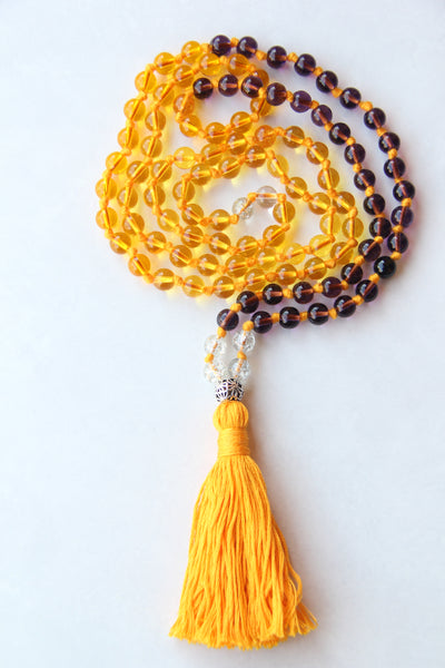 Long Knotted Yellow Mala Necklace with Yellow Cotton Tassel