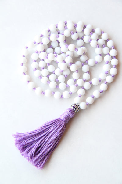 108 Mala Beads - Long Knotted Mala Necklace - Matte Agate White - Yoga Gift - Meditation Staple