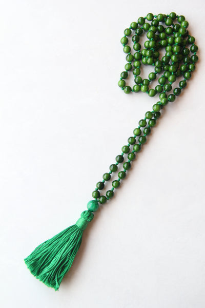 Chakra Collection - Green Mala Necklace with Green Cotton Tassel