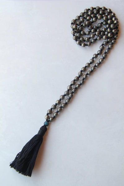 108 Mala - Men's Mala - Long Heavy Knotted Mala Necklace Iron Pyrite with Cotton Tassel