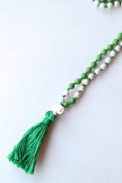 Knotted Long 108 Mala Necklace with Green Cotton Tassel and Mix Turquoise Beads