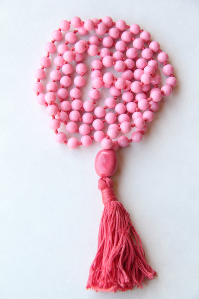 Brick Pink Mala Necklace with Red Cotton Tassel