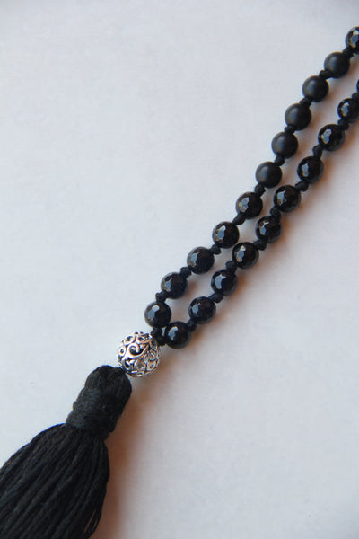 108 Mala - Medium Length Knotted Black Agate Mala Necklace with Silver Flower Guru Bead and Cotton Tassel