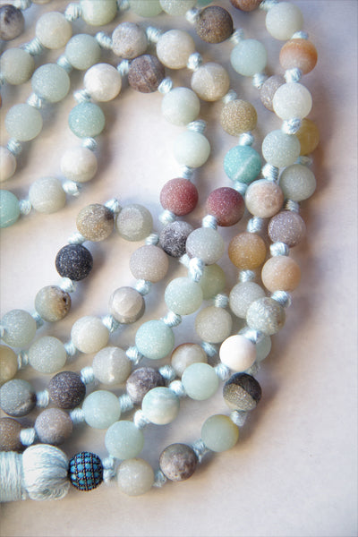 108 Long Knotted Matte Amazonite Mala Necklace with Cotton Tassel I