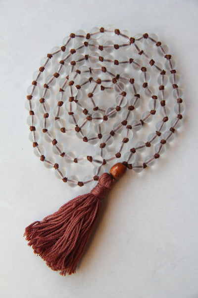 Knotted Long Frosted Glass beads Mala Necklace with BRown Cotton tassel