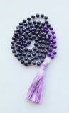 Knotted Long Mixed Beads Mala Necklace with Cotton tassel - VI