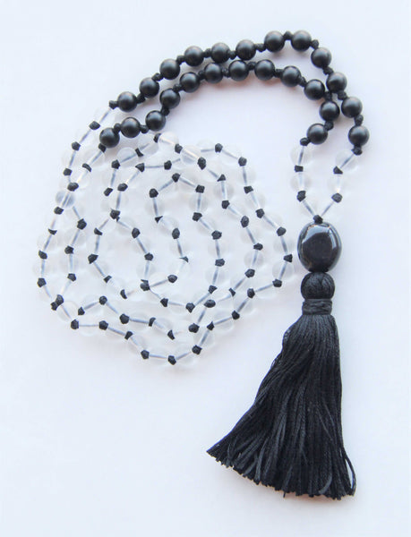 108 Mala - Black & White Mala Necklace With Cotton Tassel