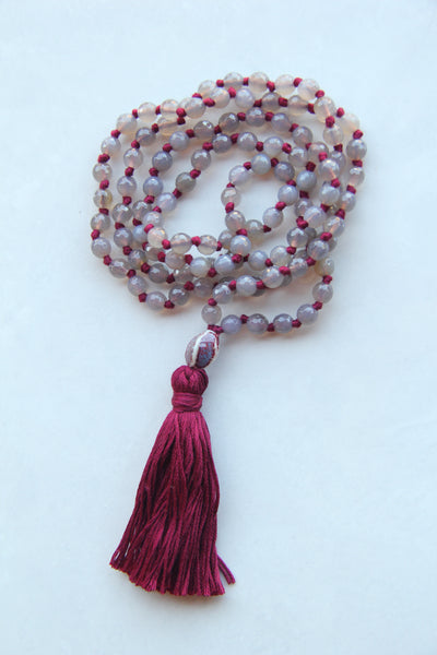 108 Knotted Long Smokey Quartz Mala Necklace with Cotton tassel