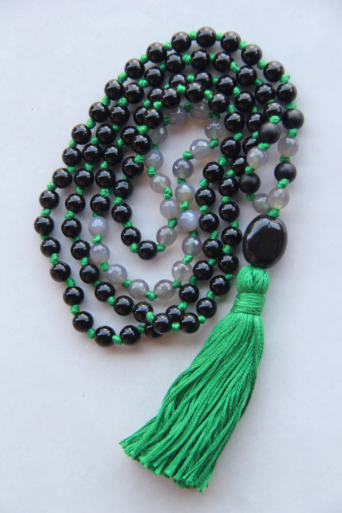 108 Druzy & Black Glass Beads Mala necklace with Green Cotton Tassel