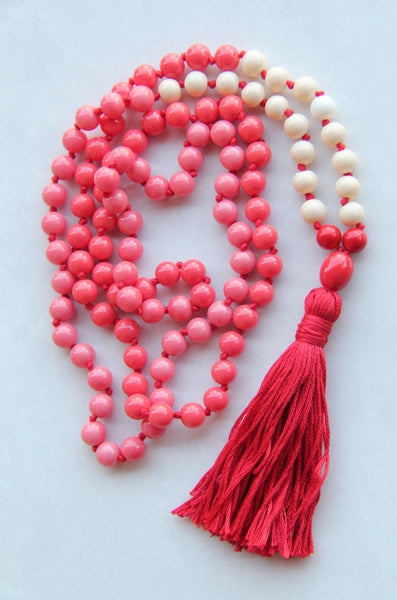108 Red&White Glass Beads Mala necklace with Green Cotton Tassel
