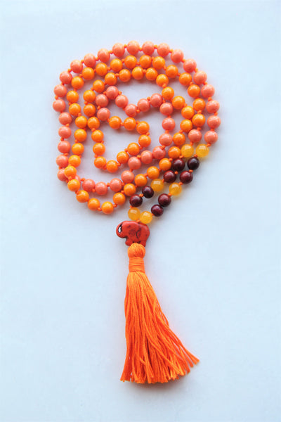 Knotted Long Mixed Beads Mala Necklace with Cotton tassel - II