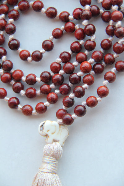 Long Knotted Rosewood Mala Necklace with Cotton Tassel for Yoga & Meditation