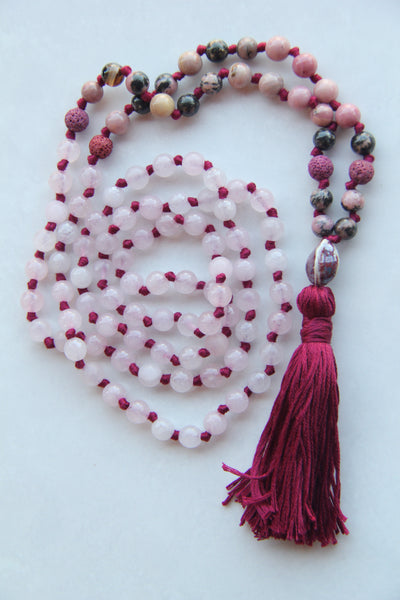 Knotted Long Rose Quartz and Rhodonite  Mala Necklace with Cotton tassel - I