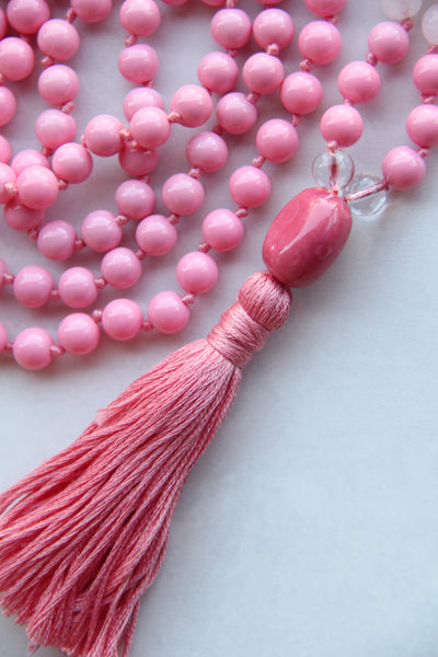 Knotted Long Mixed Beads Mala Necklace with Cotton tassel - III