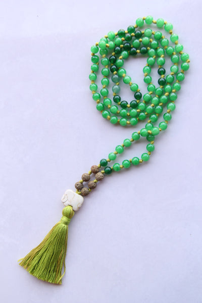 Knotted Long 108 Mixed Green Beads Mala necklace with Green Cotton Tassel